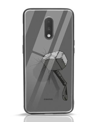 Shop Thor Hammer OnePlus 7 Glass Mobile Cover (AVL)-Front