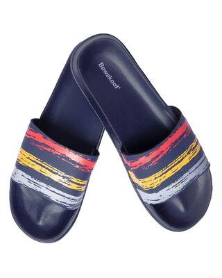 Shop Three Stripes Lightweight Men's Slider Blue-Front
