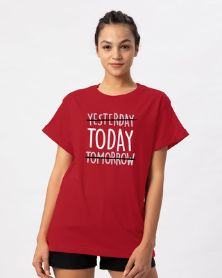 Shop Today Yesterday Tomorrow Boyfriend T-Shirt-Front