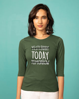 Shop Today Yesterday Tomorrow Round Neck 3/4th Sleeve T-Shirt-Front
