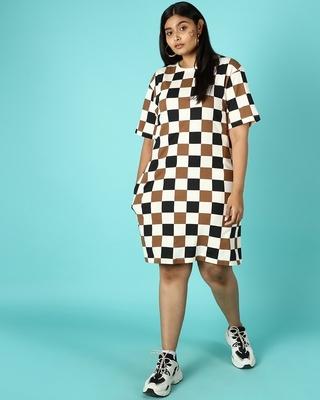 Shop Killer Brown Plus Size Checks AOP Dress-Front