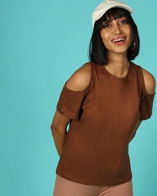 Shop Killer Brown Cold Shoulder T-Shirt-Front