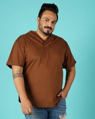 Shop Killer Brown Plus Size Apple Cut Hoodie T-Shirt-Front