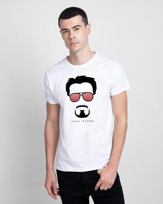 Shop Tony Stark Silhouette Half Sleeve T-shirt (AVL) White-Front