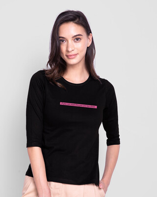 Shop Too Close Round Neck 3/4 Sleeve T-Shirts Black-Front