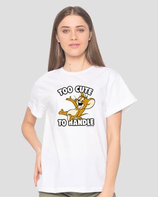 Shop Too Cute Jerry Boyfriend T-Shirt (TJL) White-Front