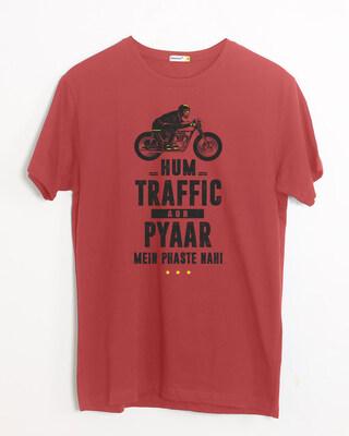 Shop Traffic Aur Pyaar Half Sleeve T-Shirt-Front