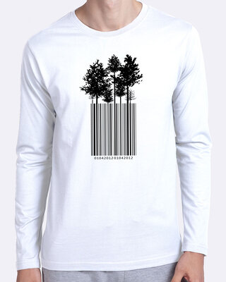 Shop Tree Barcode Full Sleeve T-Shirt White -Front