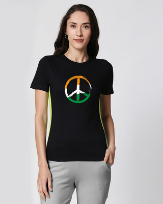 Shop Tri Peace Contrast Side Seam Panel T-Shirt Black-Neon Green-Front