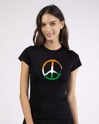 Shop Tri Peace Half Sleeve T-Shirt Black-Front