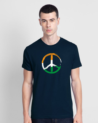 Shop Tri Peace Half Sleeve T-Shirt Navy Blue-Front
