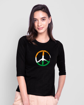 Shop Tri Peace Round Neck 3/4th Sleeve T-Shirt Black-Front