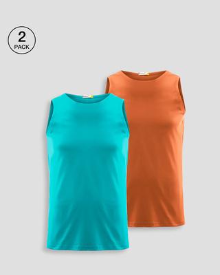 Shop Men's Plain Round Neck Vest Pack of 2 (Tropical Blue & Vintage Orange)-Front
