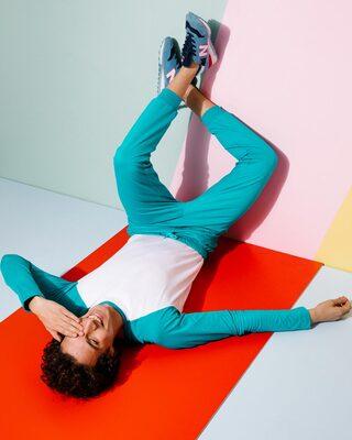 Shop Tropical Blue Casual Jogger Pants-Front