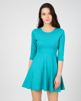 Shop Tropical Blue Flared Dress-Front