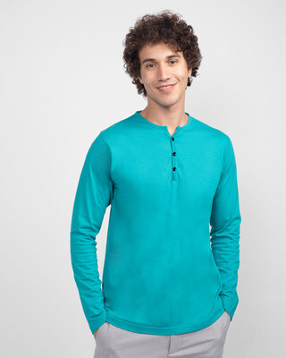 Shop Tropical Blue Full Sleeve Henley T-Shirt-Front
