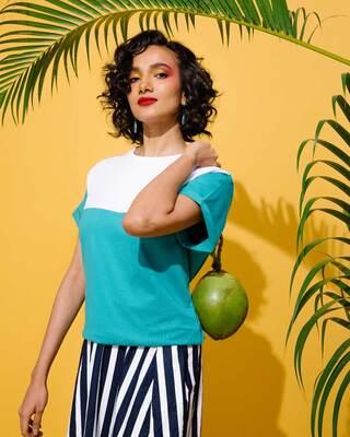 Shop Tropical Blue-White 90's Vibe Boyfriend Panel T-Shirt-Front
