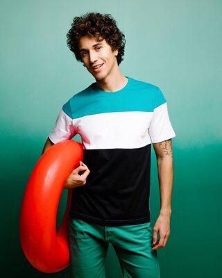 Shop Tropical Blue-White-Black 90's Vibe Panel T-Shirt-Front