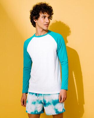 Shop Tropical Blue-White Full Sleeve Raglan T-Shirt-Front