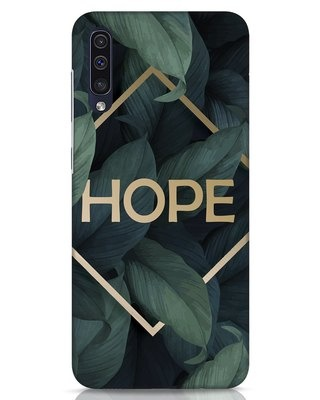 Shop Tropical Leaves Hope Samsung Galaxy A50 Mobile Cover-Front