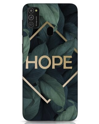 Shop Tropical Leaves Hope Samsung Galaxy M21 Mobile Cover-Front