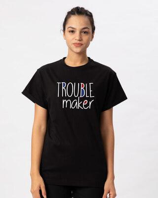 Shop Trouble Maker Typography Boyfriend T-Shirt-Front