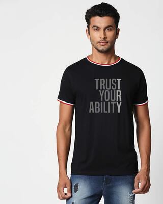 Shop Trust Your Ability Crewneck Varsity Rib H/S T-Shirt Multicolor-Front