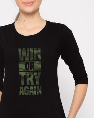 Shop Try Again Round Neck 3/4th Sleeve T-Shirt-Front