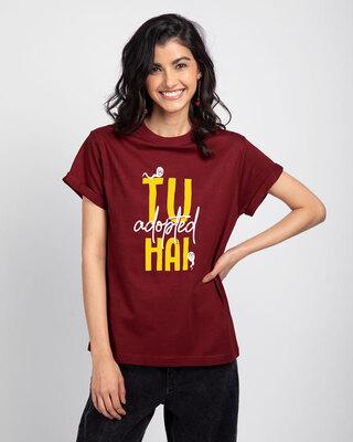 Shop Tu Adopted Hai Boyfriend T-Shirts-Front