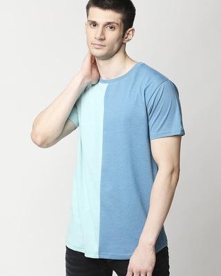 Shop Turquoise Melange Half & Half T-shirt-Front