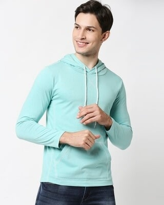 Shop Turquoise Melange Full Sleeves T-Shirt With Hoodie-Front