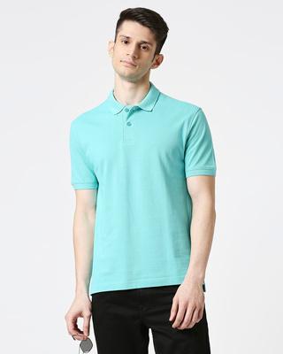 Shop Turquoise Pique Polo-Front