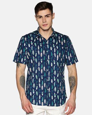 Shop Tusok Men Short Sleeve Cotton Printed Boat on Navy Blue Shirt-Front