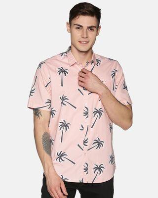 Shop Tusok Men Short Sleeve Cotton Printed Brown Palm Tree Pink Shirt-Front