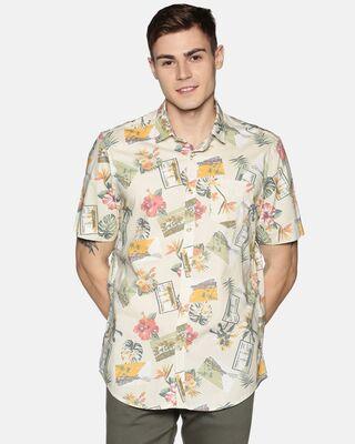 Shop Tusok Men Short Sleeve Cotton Printed Graphic on Beige Shirt-Front
