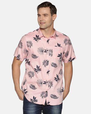 Shop Tusok Men Short Sleeve Cotton Printed Graphic Pink Shirt-Front