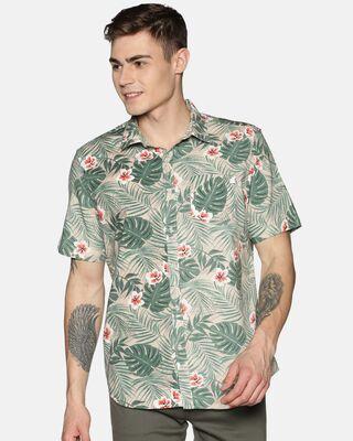 Shop Tusok Men Short Sleeve Cotton Printed Green Leafy Beige Shirt-Front
