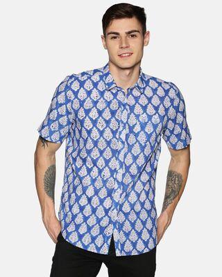 Shop Tusok Men Short Sleeve Cotton Printed Jaipuri Block Blue Shirt-Front