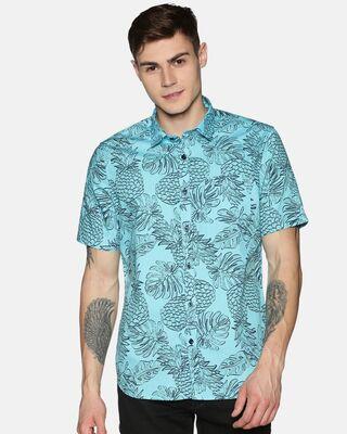 Shop Tusok Men Short Sleeve Cotton Printed Leaf Pineapple Fruit Blue Shirt-Front