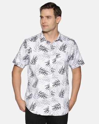 Shop Tusok Men Short Sleeve Cotton Printed Mapple White Shirt-Front