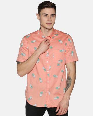 Shop Tusok Men Short Sleeve Cotton Printed Peach Pink Pineapple Shirt-Front