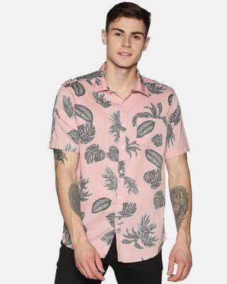 Shop Tusok Men Short Sleeve Cotton Printed Pink Peach Grey Leafy Shirt-Front