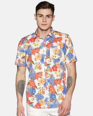 Shop Tusok Men Short Sleeve Cotton Printed Red Blue on White Shirt-Front