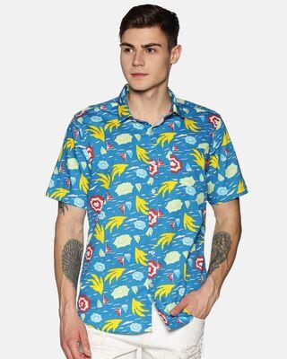 Shop Tusok Men Short Sleeve Cotton Printed Sea Wave Graphics on Blue Shirt-Front