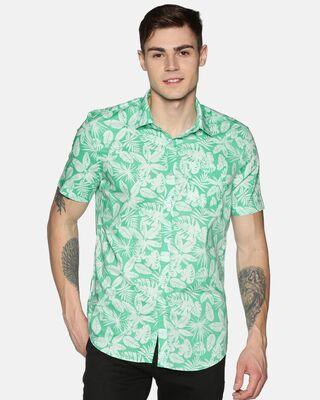 Shop Tusok Men Short Sleeve Cotton Printed Teal Self Shirt-Front