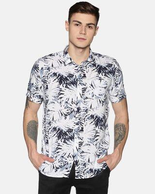 Shop Tusok Men Short Sleeve Rayon Printed Leafy Grey Ash Shirt-Front