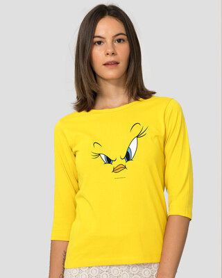 Shop Tweety Face Round Neck 3/4 Sleeve T-Shirts(LTL) Pineapple Yellow-Front