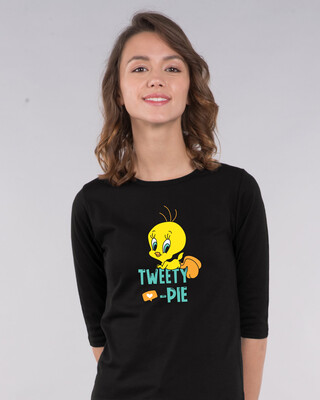 Shop Tweety Pie Round Neck 3/4th Sleeve T-Shirt (TWL)-Front