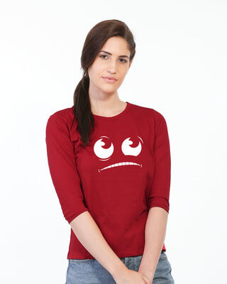 Shop Uii Maa Round Neck 3/4th Sleeve T-Shirt-Front