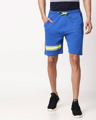 Shop Ultramarine Blue-Neon Lime Reflector Shorts-Front